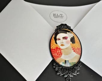 Fashion lady portrait brooch