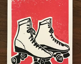 Screen Printed Vintage Roller Skates Signed Two Color Art Print - Hand Printed