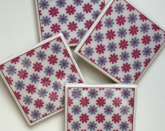 Flower Theme Set of 4 Ceramic Tile Resin Coasters
