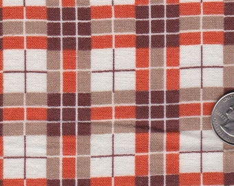 Mid Century Feedsack Fabric Cotton Quilt Cloth Printed Plaid Crafting Material