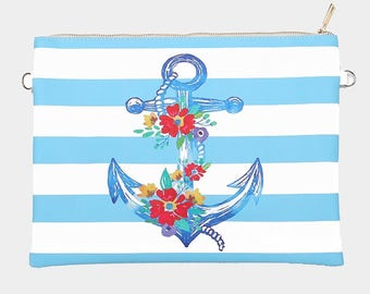 Floral Anchor- Nautical Zip clutch