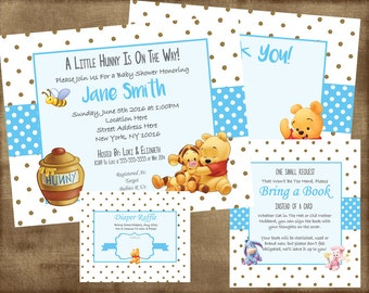 Winnie the Pooh Baby Shower Invitation Set Boy - PDF Kit & jpeg