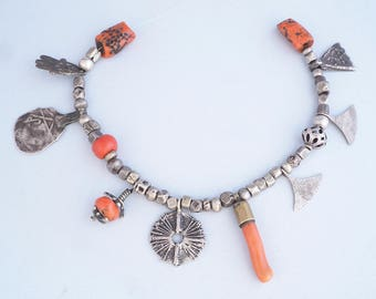 Antique red coral & silver heirloom beads. Tuareg, Berber