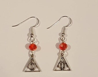 Harry Potter deathly hallows red Earrings