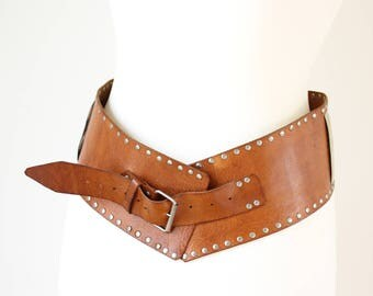 Wide Tan Leather Ladies Belt with Metal Buttons, Wide Leather Belt with Studs, Honey Tan Leather Belt, Wide Brown Leather Boho Belt