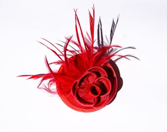 Beautiful Red Sinamay Headpiece