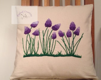 REDUCED - Hand Embroidered Muscari Cushion - 40cm x  40cm