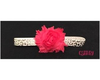Pink flower metallic silver cheetah headband