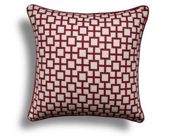 Red Throw Pillow Cover - Modern Decor - Red Pillow Cover -Geometric Throw Pillows -White Pillow Cover - Red And White Pillow