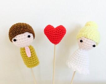 Crochet Wedding Cake Topper, Wedding Cake Topper, Wedding Decor, wedding gift, Crochet Cake Topper,