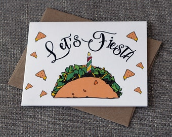 Let's Fiesta Taco Nacho Cute Funny Birthday Greeting Card