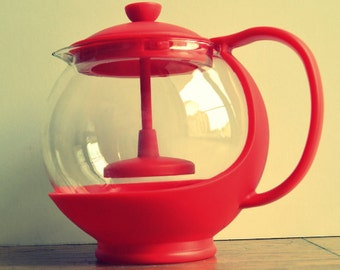 Clear glass teapot with infuser See Through glass teapot Transparent glass teapot Red Teapot Vintage 1970s