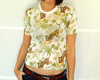 Womens fitted t-shirt size S tropical forest t-shirt tiger t-shirt soft cotton t-shirt stretch tshirt for women size S vintage 1980s