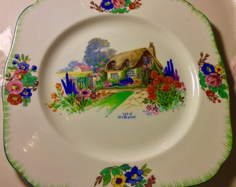 Pretty in Pink-H & K Tunstall Bit of Old England Cake Plate