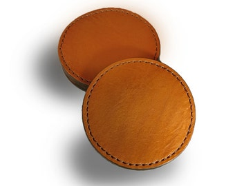 Leather Saddle-Tan Stitched Coaster Set of 4 (Engraving Available)