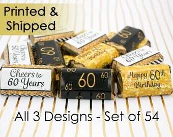 60th Birthday Party Decorations - Gold & Black - Party Favor Stickers for Hershey's Miniature Bars (Set of 54)