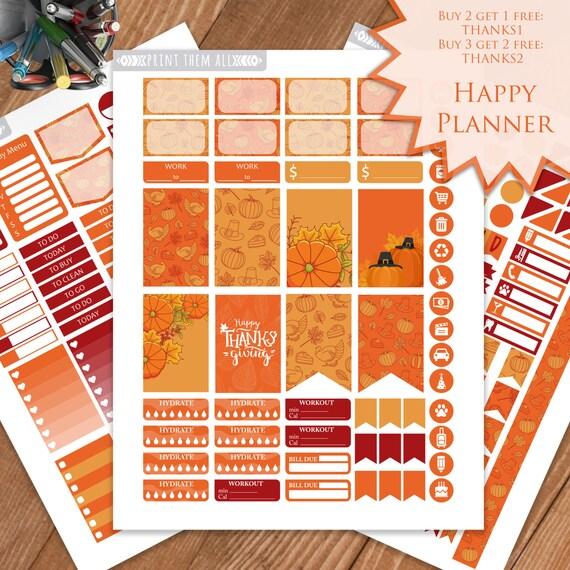 Thanksgiving Planner Stickers Printable November Kit HAPPY