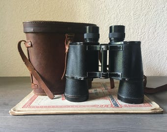 Vintage 7 x 50 Ofuna Binoculars, Made in Japan -- w/ Tan Leather Case