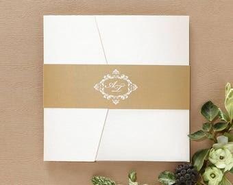 Wedding Invitation | Custom invitations | Unique invitations | Wedding stationery | Elegant invites - Golden Antique Pocket