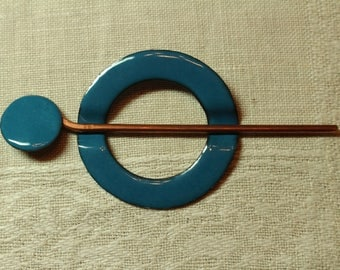 Shawl/Scarf Pin - Hand Hammered Copper - Vitreous Enamel - WEDGEWOOD BLUE