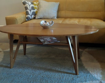 Midcentury Inspired Oval Coffee Table