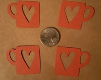 5  heart coffee cup die cuts chose your color