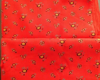 2,7Yrds Red Floral Print Fabric Pure Cotton Vintage 50s HighQuality 100% Natural Rustic Dense Great Shape Big Unit Summer Fabric ECOfriendly