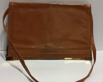 Brown Vintage Purse - Warm Brown HandBag - Gold Accent - Shoulder Bag