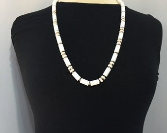White and Gold Lucite Necklace - Bold Necklace - Statement Necklace