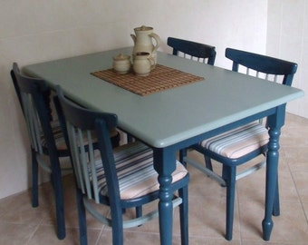Shabby Chic Table and Chairs, upcycled in Aubusson and Duck Egg Blue
