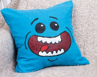 Rick and Morty Inspired - Meeseeks handpainted throw pillow, 15.7 in