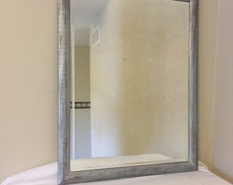 Vintage Silver Mirror, Beveled Antique Mirror, Distressed Silver Wood Mirror, Shabby Chic Decor, Bedroom/Living Room Decor