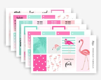 Flamingo Planner Sticker Kit / Weekly Kit / Sticker Set for use with Erin Condren LifePlanner™ / Spring, Summer | KC4