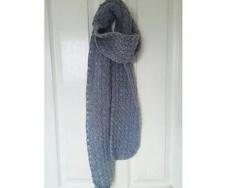 Womens grey crochet scarf / grey scarf / crochet scarf / smart crochet scarf / smart woolly scarf / smart grey scarf / woolly crochet scarf