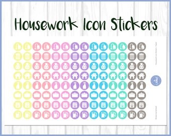 Housework Planner Stickers | Cleaning Planner Stickers | Diary Stickers | Journal Stickers - Erin Condren, Happy Planner, Kikki K, Filofax