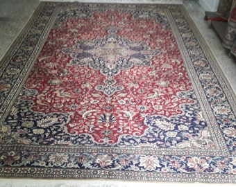 Turkish handmade floor carpet rug, Vintage nomade red and blue Oushak wool rug, Turkish tradational homedecor area rug, 300X192cm,10.x6.3ft