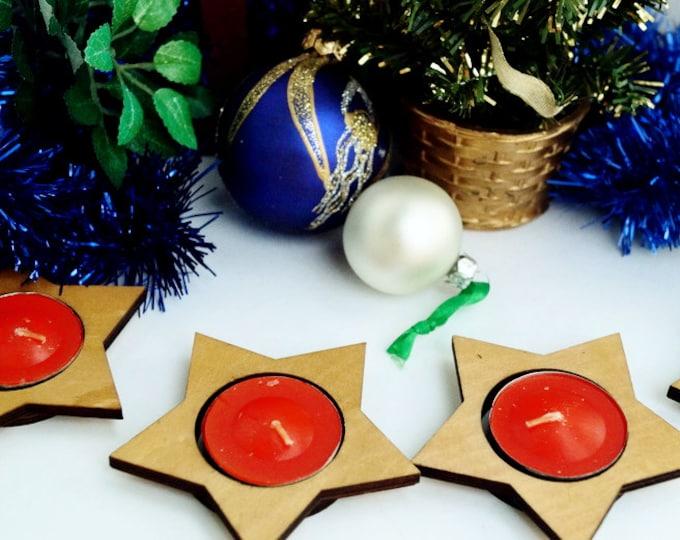 Star candlestick, сhristmas decorations - Set 4 wooden candlestick - Christmas Decor table set - Christmas gift - idea table decorations