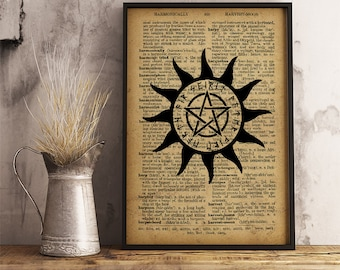 "Pentagram with text ""spirit water fire earth air"" (five elements in Wicca religion) using Runes, Pentagram print, Pentagram poster (AL07)"