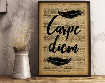 Carpe Diem Inspirational Art Quote Print Wall Art Office motivation Poster Carpe Diem Printable Wall Art Quote Poster FM06