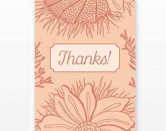 Floral Thank You Card Set | 5 Blank Cards