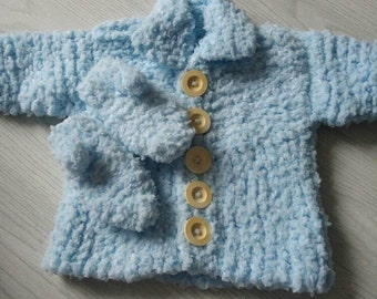 Baby boys winter cardigan and mitts