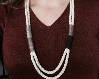 Cotton And Yarn Necklace