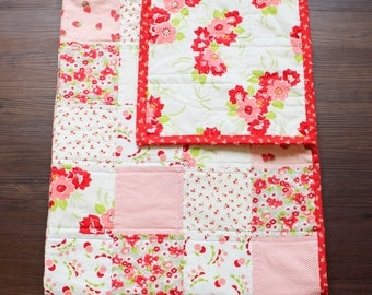 The Ruby Quilt, baby girl quilt, crib quilt, nursery bedding, baby bedding, floral quilt, floral nursery, red, pink, white, strawberry baby