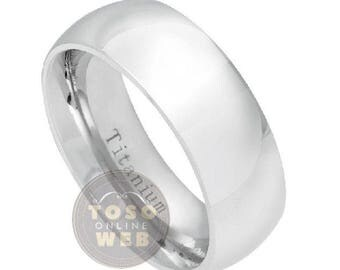 Men's 8mm High Polished Classic Dome Titanium Wedding Band, Comfort Fit Anniversary Ring Ti5382
