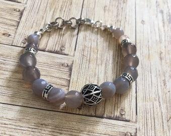 Beads grey agate bracelet