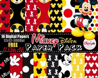 Mickey Mouse digital paper FREE Clip art, scrapbook papers, wallpaper, mickey background, polka dots,red papers