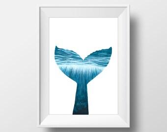 Aquaelle Painting, whale Fin, FINE ART PRINT, Whale, Tail, Ocean, Blue