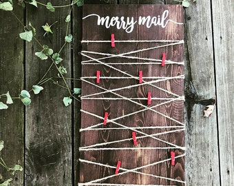 Merry Mail - Christmas Card Display - Wooden Sign