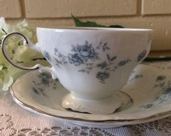 Vintage Johann Haviland Cup and Saucer, Blue Garland, Bavaria Germany.Home and Living,Kitchen and Dining, Kitchen and Serving,Collectible.