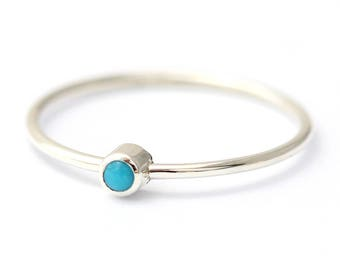 Thin Turquoise Ring, Silver Turquoise Ring, Turquoise Promise Ring For Her, Stacking Turquoise Ring